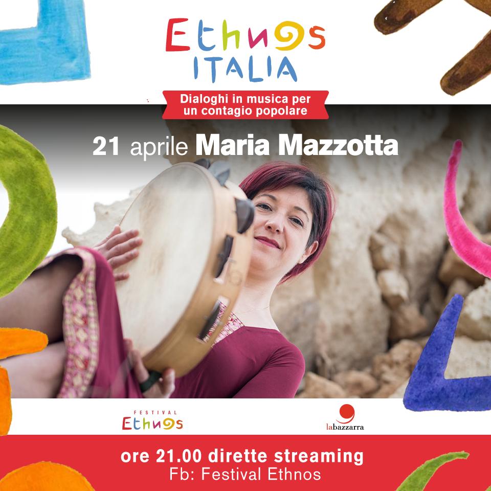 """""""Ethnos Italia"""", questa sera alle 21 su Facebook la cantante salentina Maria Mazzotta"""