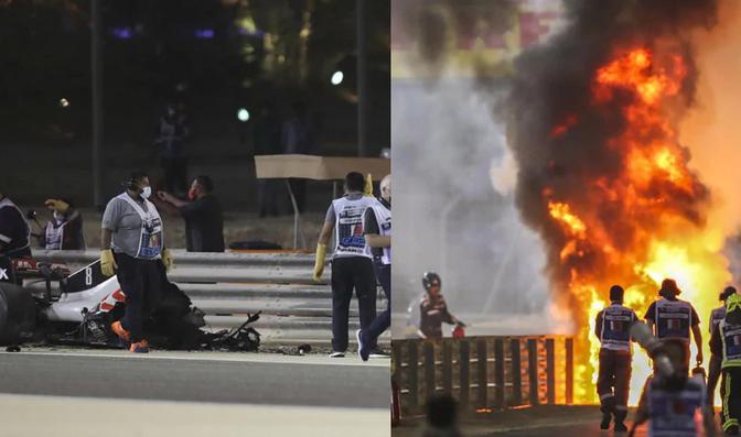 F1, Gp Bahrain. Paura Grosjean, vettura prende fuoco e si spezza al via
